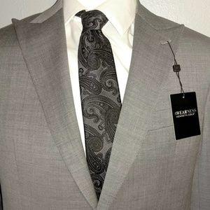 NWT Kenneth Cole Grey Wide Peak Suit 40 Regular